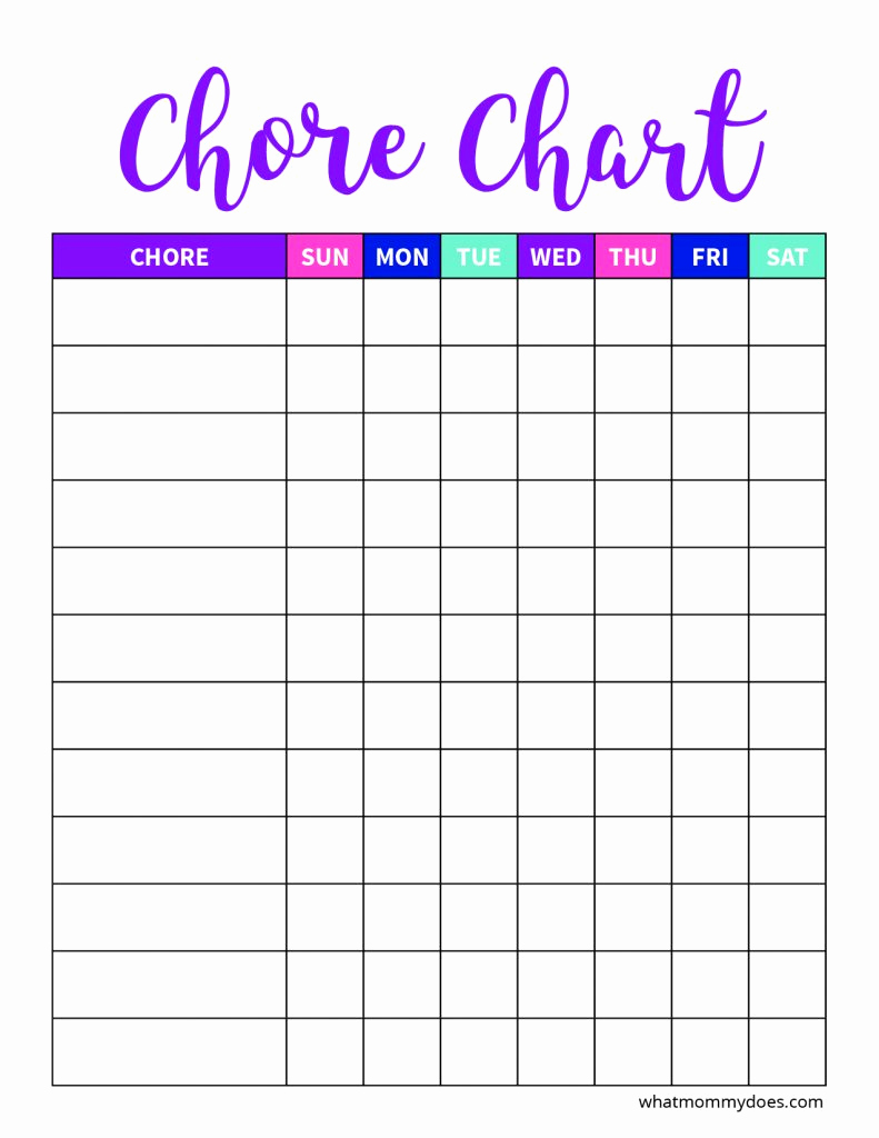 Kids Chore Chart Template Luxury Free Blank Printable Weekly Chore Chart Template for Kids