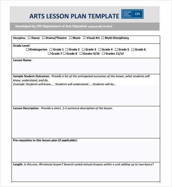 Kindergarten Lesson Plan Template Beautiful 8 Art Lesson Plans