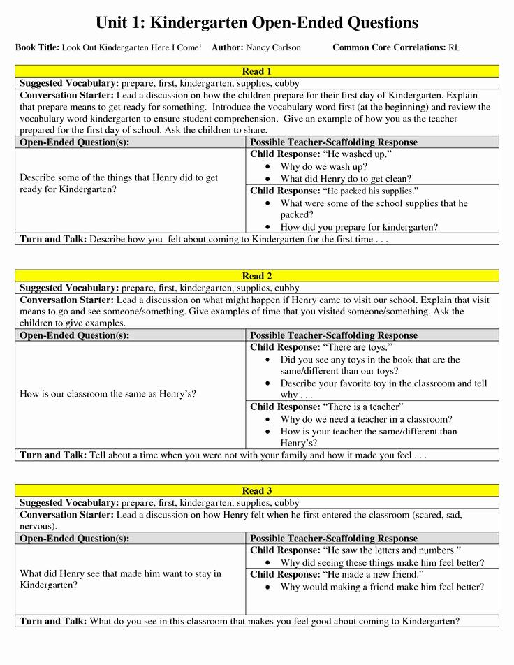 Kindergarten Lesson Plan Template Best Of Mon Core Lessons for Kindergarten