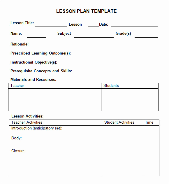 Kindergarten Lesson Plan Template Unique Sample Weekly Lesson Plan 8 Documents In Pdf Word