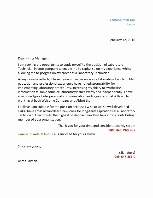 Lab Technician Cover Letter Beautiful asma Lab Tech Cover Letter