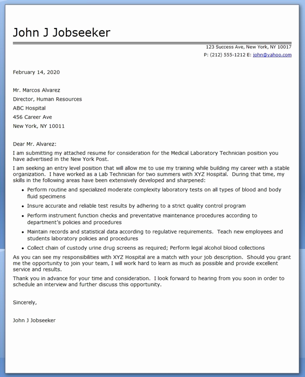 Lab Technician Cover Letter Inspirational Cover Letter Medical Laboratory Technician