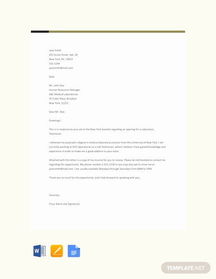 Lab Technician Cover Letter Luxury 66 Free Cover Letter Templates