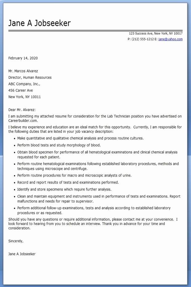 Lab Technician Cover Letter New Lab Technician Cover Letter Examples