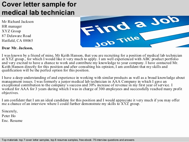 Lab Technician Cover Letter New Medical Lab Technician Cover Letter