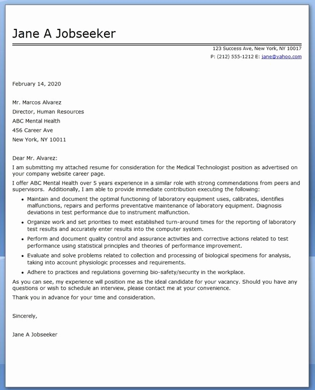 Lab Technician Cover Letter New Medical Technologist Cover Letter Examples