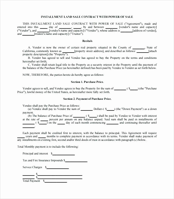 Land Purchase Agreement form Pdf Awesome Car Sales Contract