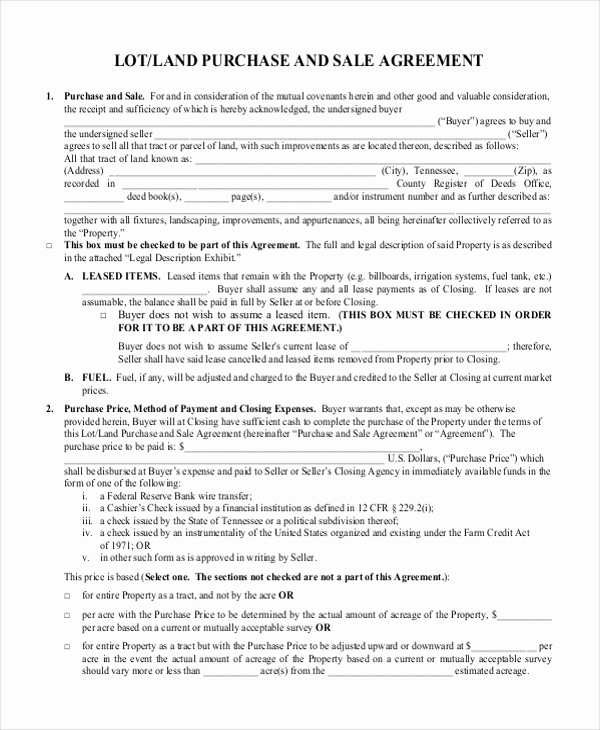 Land Purchase Agreement form Pdf Awesome Sample Land Purchase Agreement form 7 Documents In Pdf