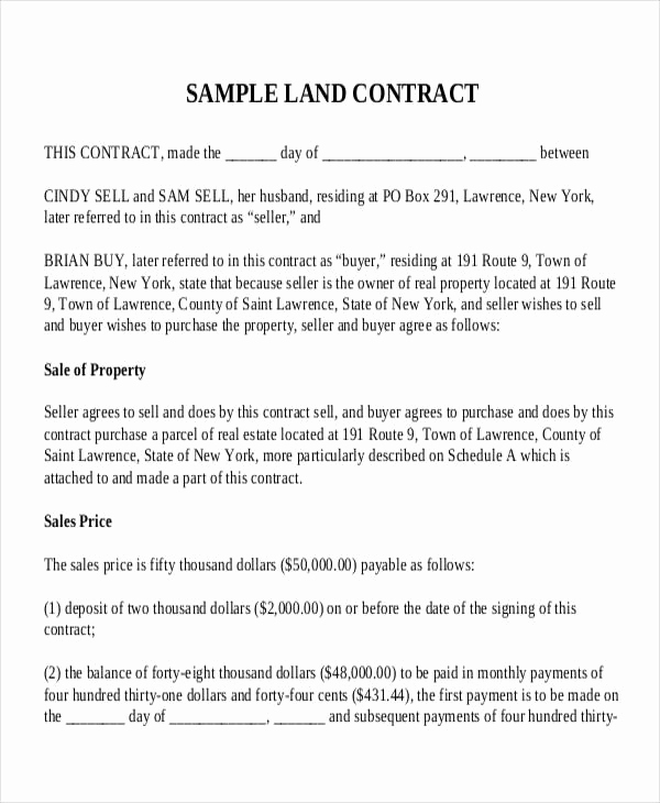 Land Purchase Agreement form Pdf Beautiful 9 Land Contract Templates Free Sample Example format