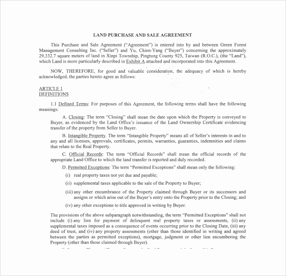 Land Purchase Agreement form Pdf Beautiful Land Purchase Agreement Template 17 Download Free