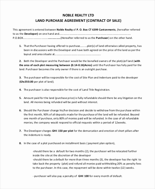 Land Purchase Agreement form Pdf Fresh Sample Land Purchase Agreement form 7 Documents In Pdf