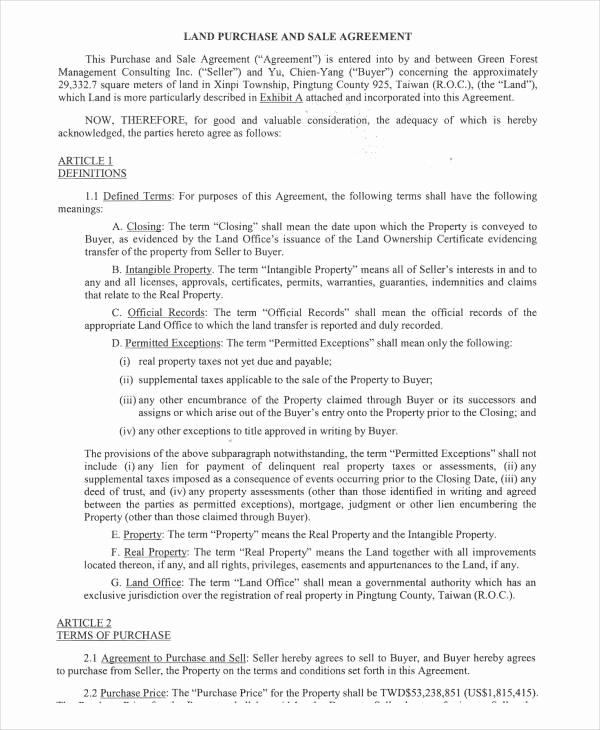Land Purchase Agreement form Pdf Inspirational 32 Sales Agreement form Template