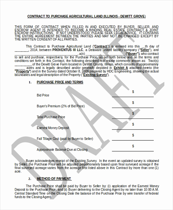 Land Purchase Agreement form Pdf Inspirational Sample Land Purchase Agreement form 7 Documents In Pdf