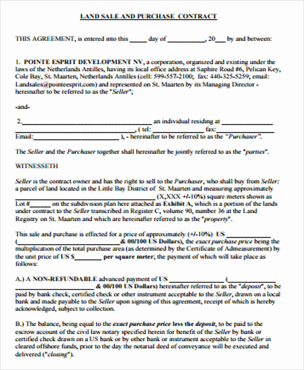 Land Purchase Agreement form Pdf New Sample Land Contract Agreement 9 Examples In Word Pdf