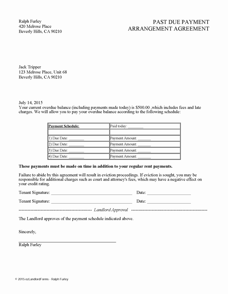 Late Rent Payment Letter Inspirational Past Due Payment Arrangement Agreement