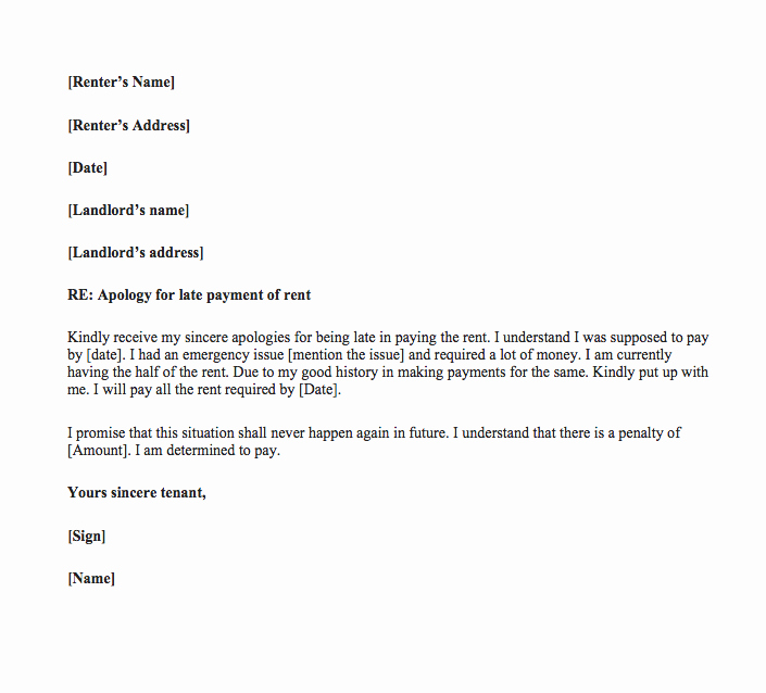Late Rent Payment Letter Lovely Late Rent Payment Letter to Landlord