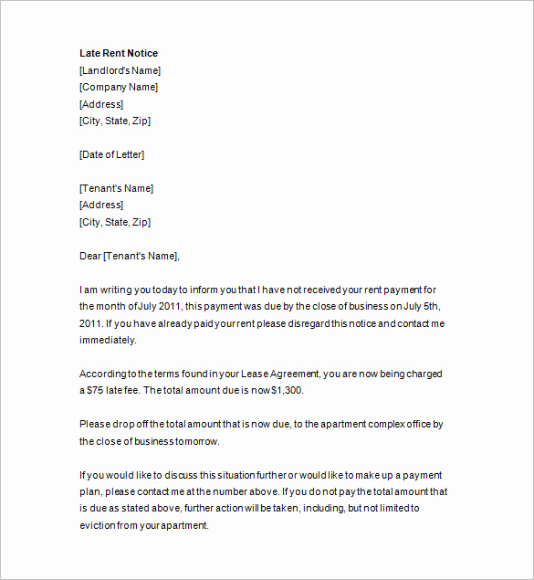 Late Rent Payment Letter New Late Rent Notice 14 Free Samples Examples format