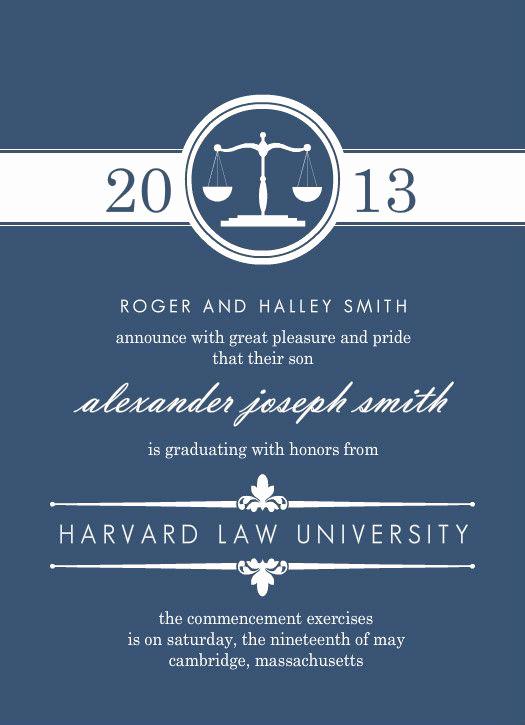 Law School Graduation Announcements Beautiful Blue Law Scales Set Law School Graduation by Purpletrail