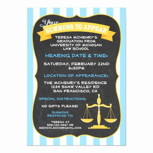 Law School Graduation Announcements Elegant Graduation for Law School Invitation Summons