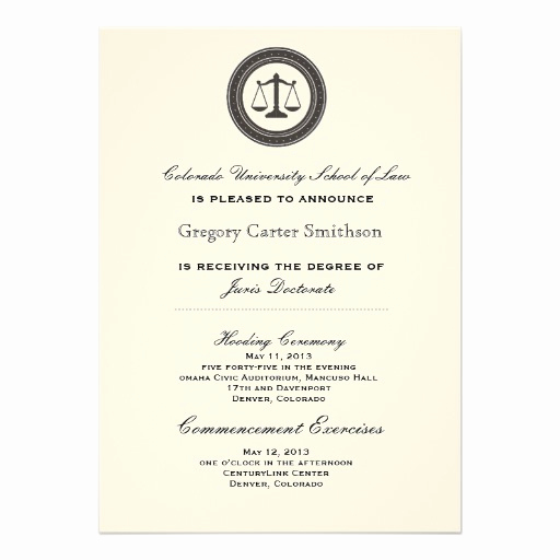 "Law School Graduation Announcements Inspirational Personalized Law School Graduation Announcements 5"" X 7"