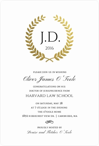 Law School Graduation Announcements New Gold Foil formal Wreath Law School Graduation Invitation