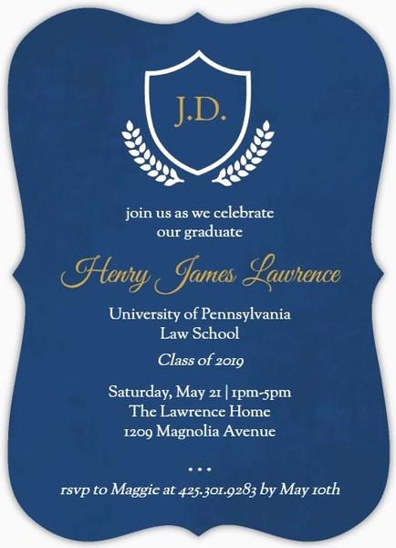 Law School Graduation Announcements New Navy and Gold Crest Law School Graduation Invitation