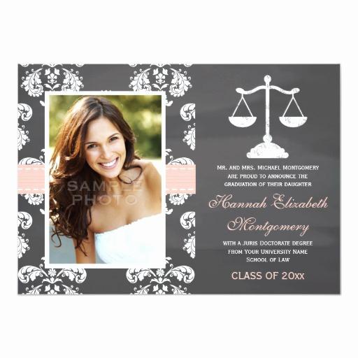 pink law school chalkboard graduation announcement