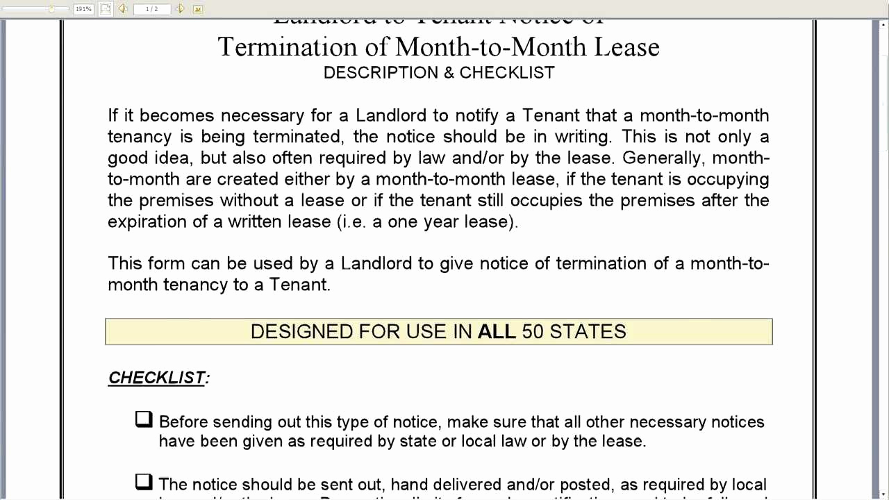 Lease Termination Letter to Tenant Beautiful Notice Of Termination Of Month to Month Lease