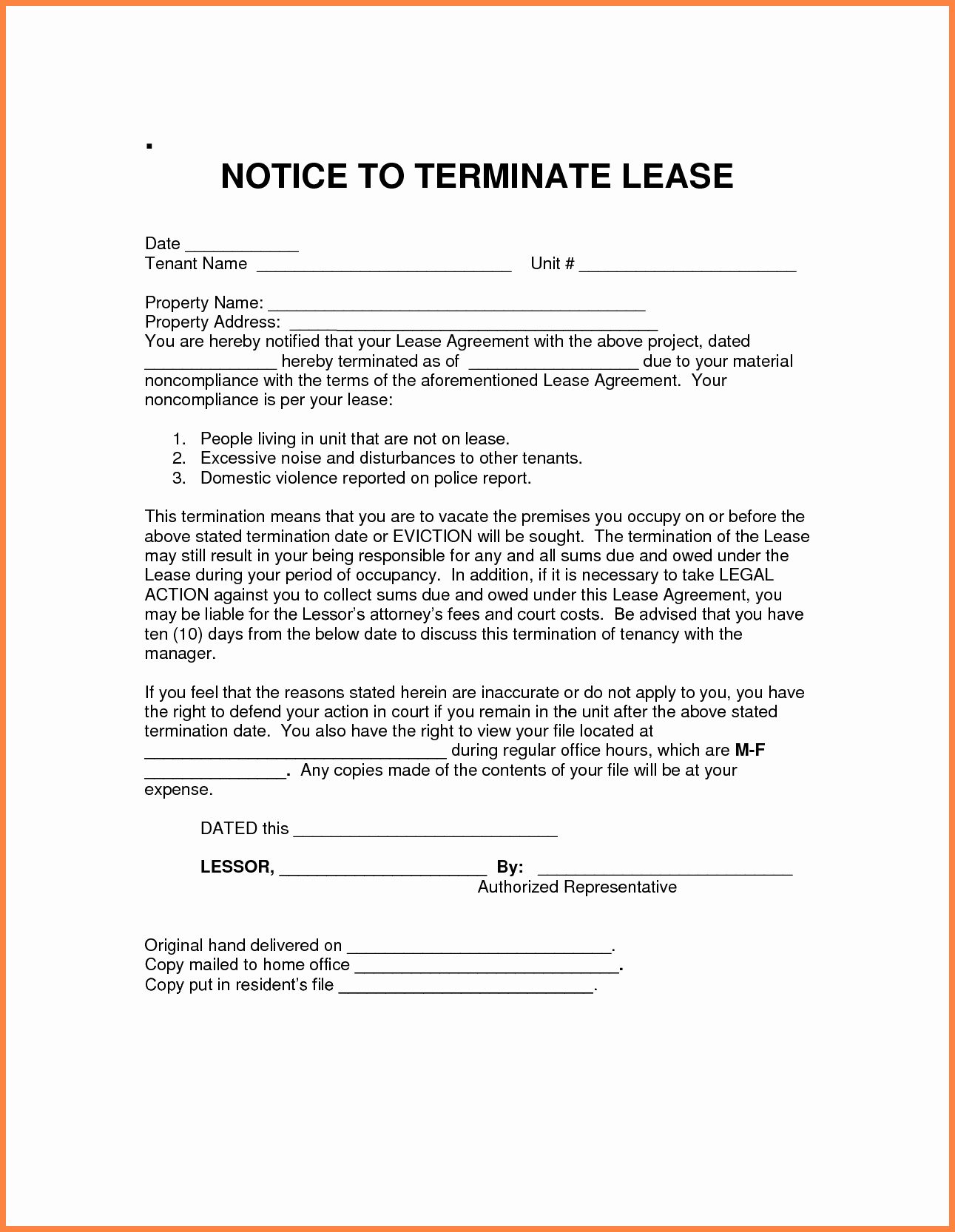 Lease Termination Letter to Tenant Elegant 7 Notice for Termination Of Rental Agreement