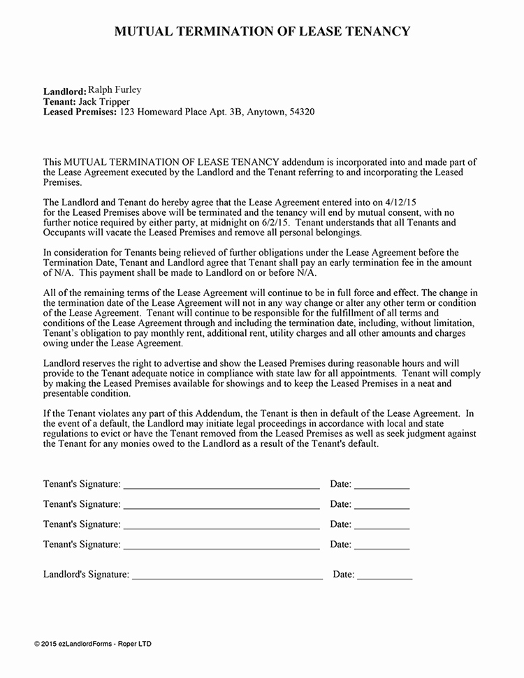 Lease Termination Letter to Tenant Luxury Mutual Termination Of Lease Tenancy