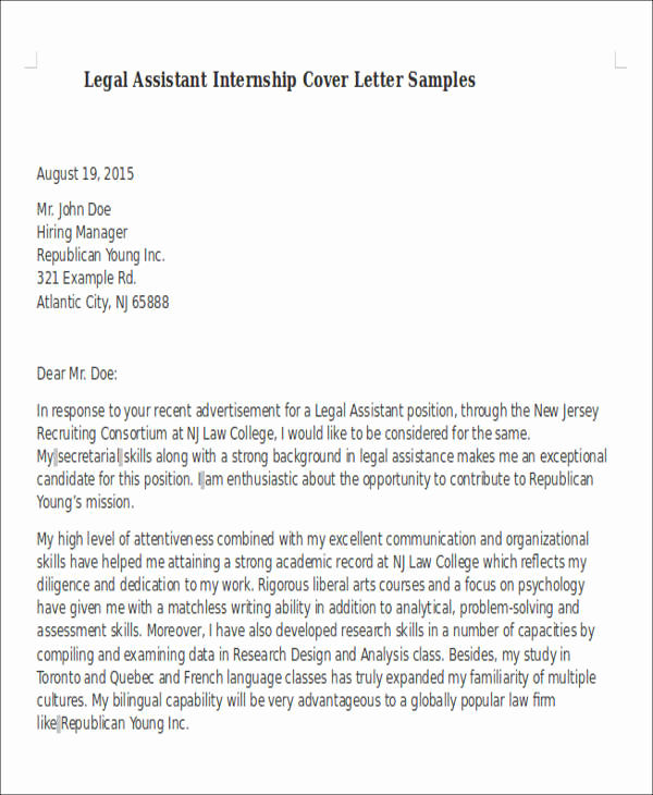 Legal Cover Letters Samples Best Of 8 Legal assistant Cover Letter Examples In Word Pdf