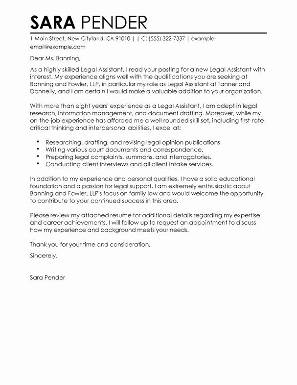 Legal Cover Letters Samples Elegant Best Legal assistant Cover Letter Examples