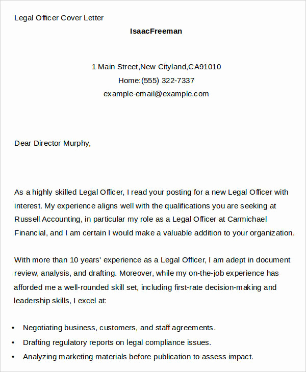 Legal Cover Letters Samples Inspirational 7 Legal Cover Letters Free Sample Example format