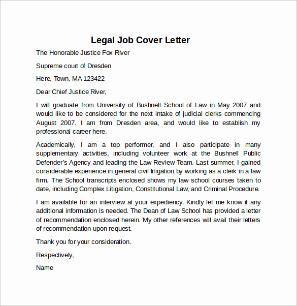 Legal Cover Letters Samples Lovely Cover Letter Example for Job 10 Download Free Documents