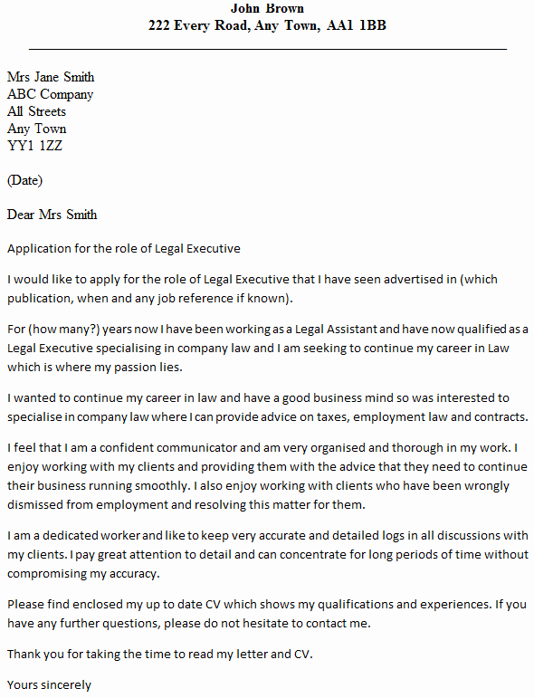 Legal Cover Letters Samples Luxury Legal Executive Cover Letter Example Icover