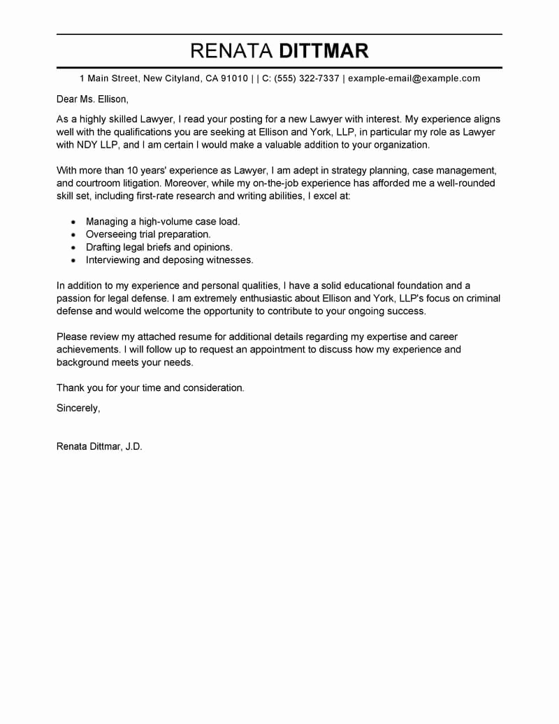 Legal Cover Letters Samples Unique Best Law Cover Letter Examples