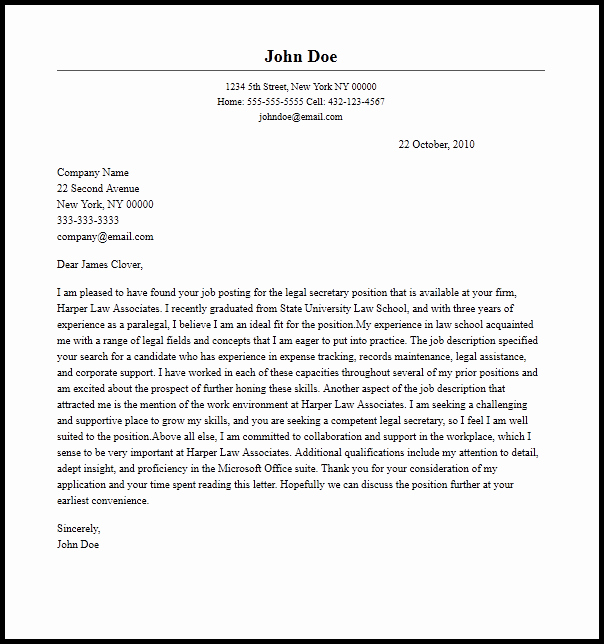 Legal Cover Letters Samples Unique Professional Legal Secretary Cover Letter Sample & Writing
