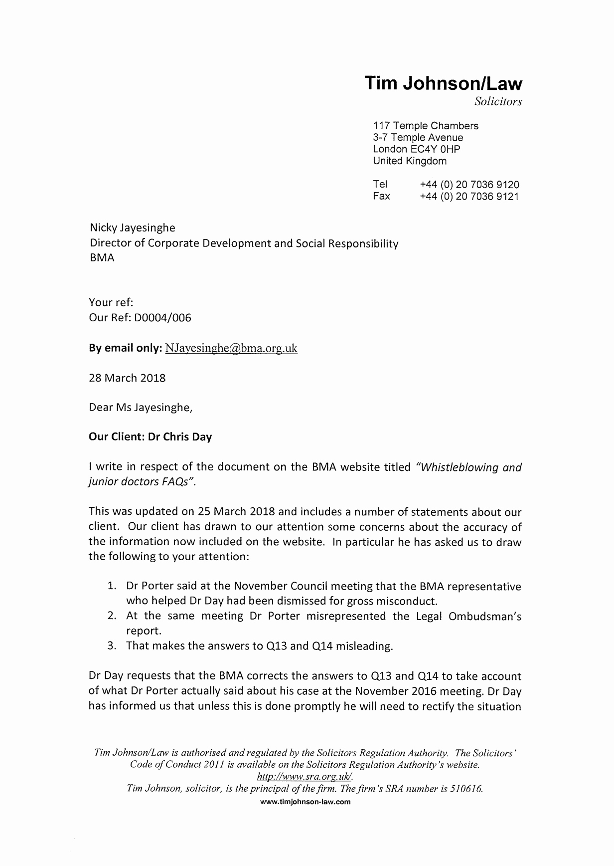 Legal Covering Letters Samples Awesome Legal Letter Challenging False Statements From the Bma