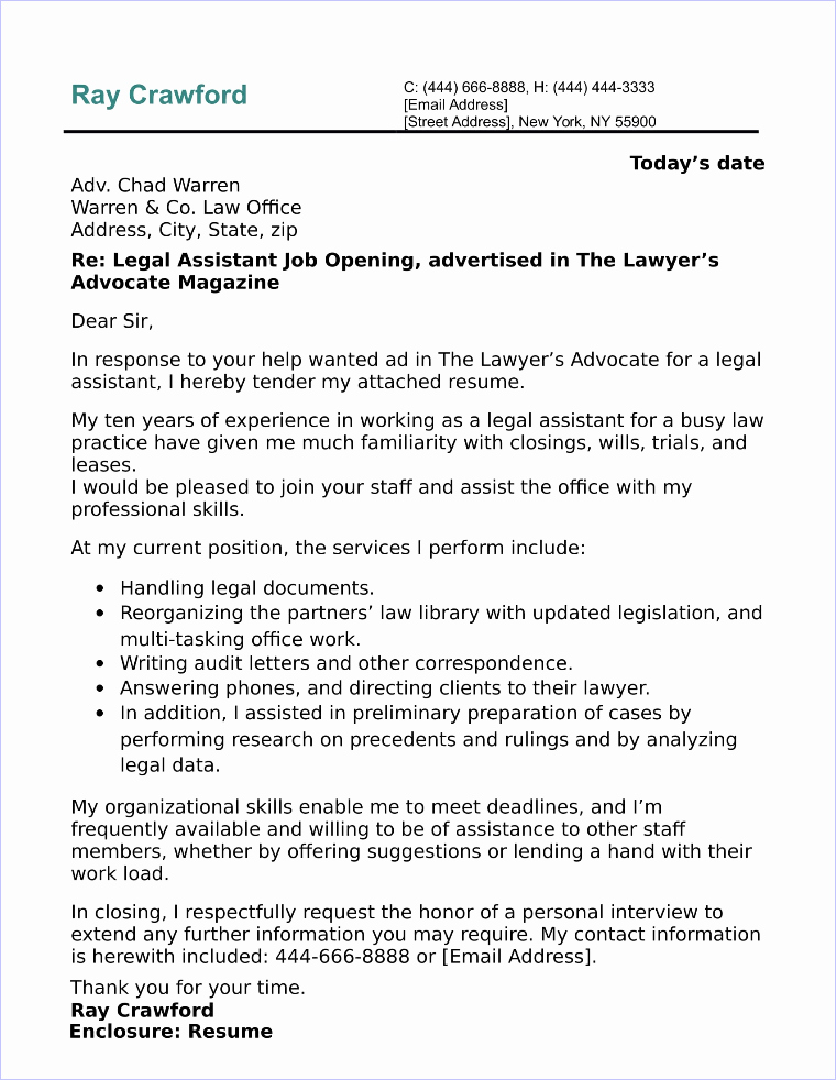 Legal Covering Letters Samples Beautiful Legal assistant Cover Letter Sample