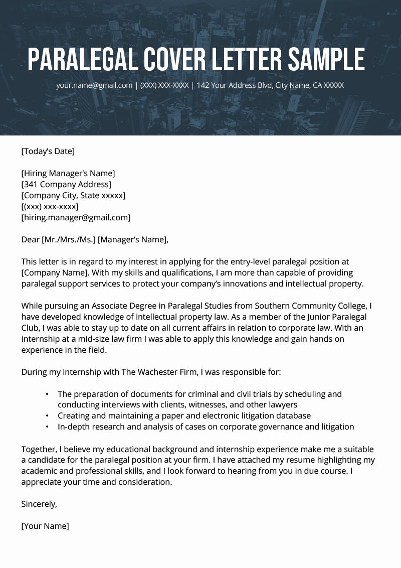 Legal Covering Letters Samples Beautiful Paralegal Cover Letter Example