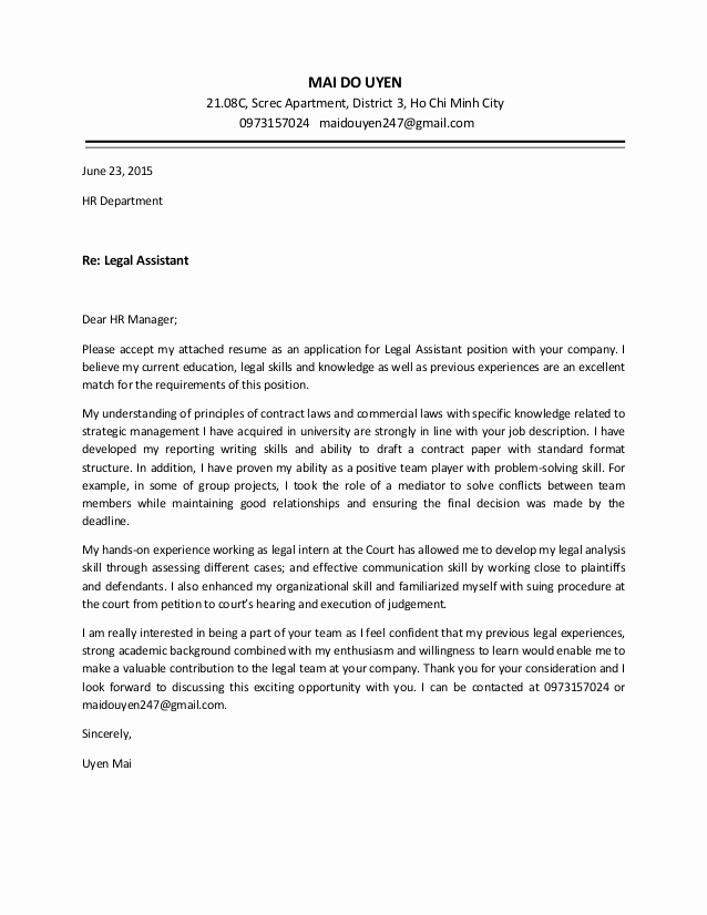 Legal Covering Letters Samples Beautiful Uyen Mai Cover Letter Legal assistant