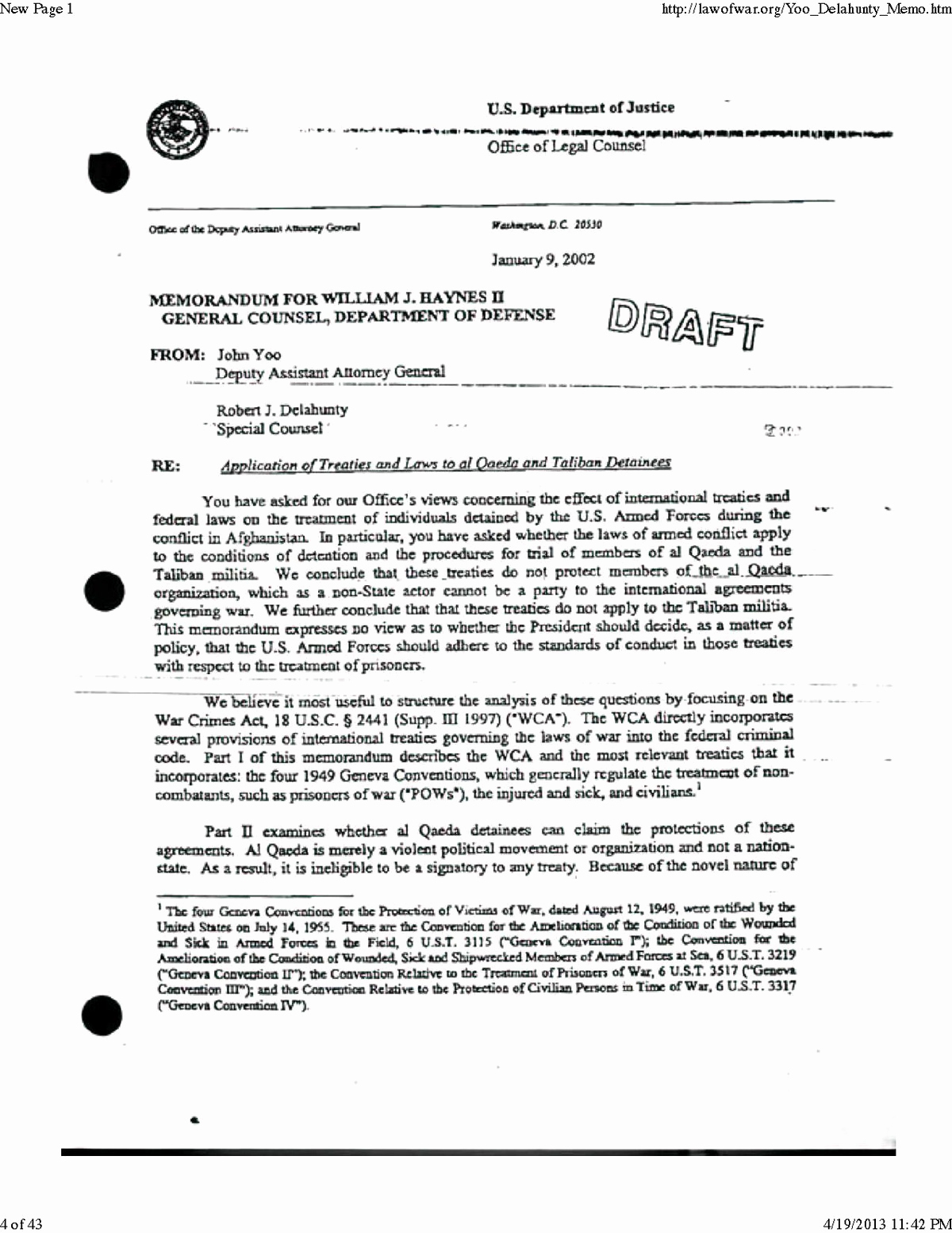 Legal Memorandum Sample Pdf Awesome torture Memos