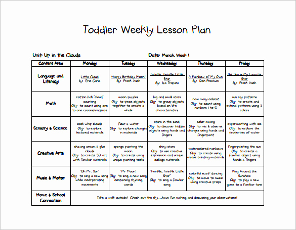 Lesson Plan for toddlers Fresh toddler Lesson Plan Template 9 Free Pdf Word format