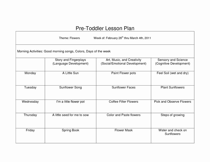 Lesson Plan for toddlers Lovely Creative Curriculum Blank Lesson Plan