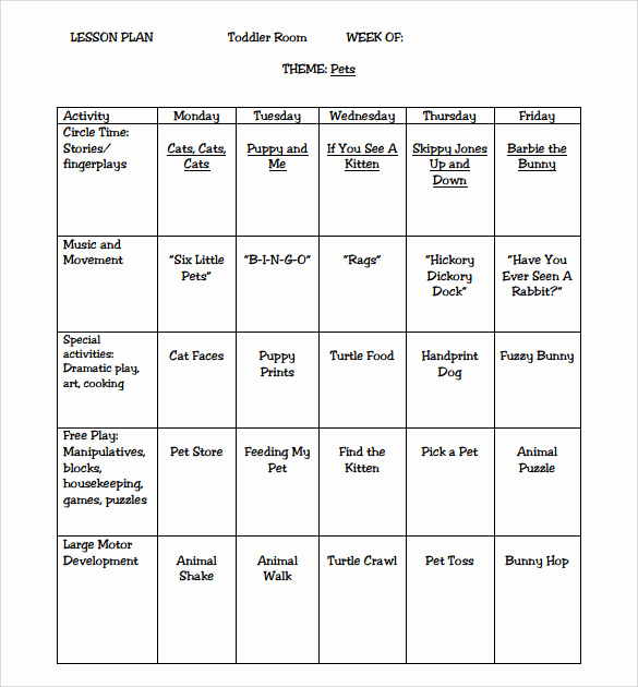 Lesson Plan for toddlers Unique 9 toddler Lesson Plan Samples