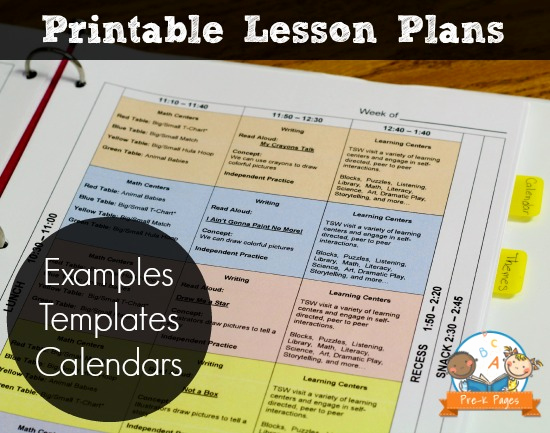 Lesson Plans for Kindergarten Awesome Printable Lesson Plans for Preschool Pre K and Kindergarten