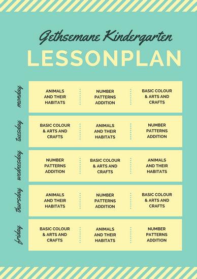 Lesson Plans for Kindergarten Elegant Lesson Plan Templates Canva