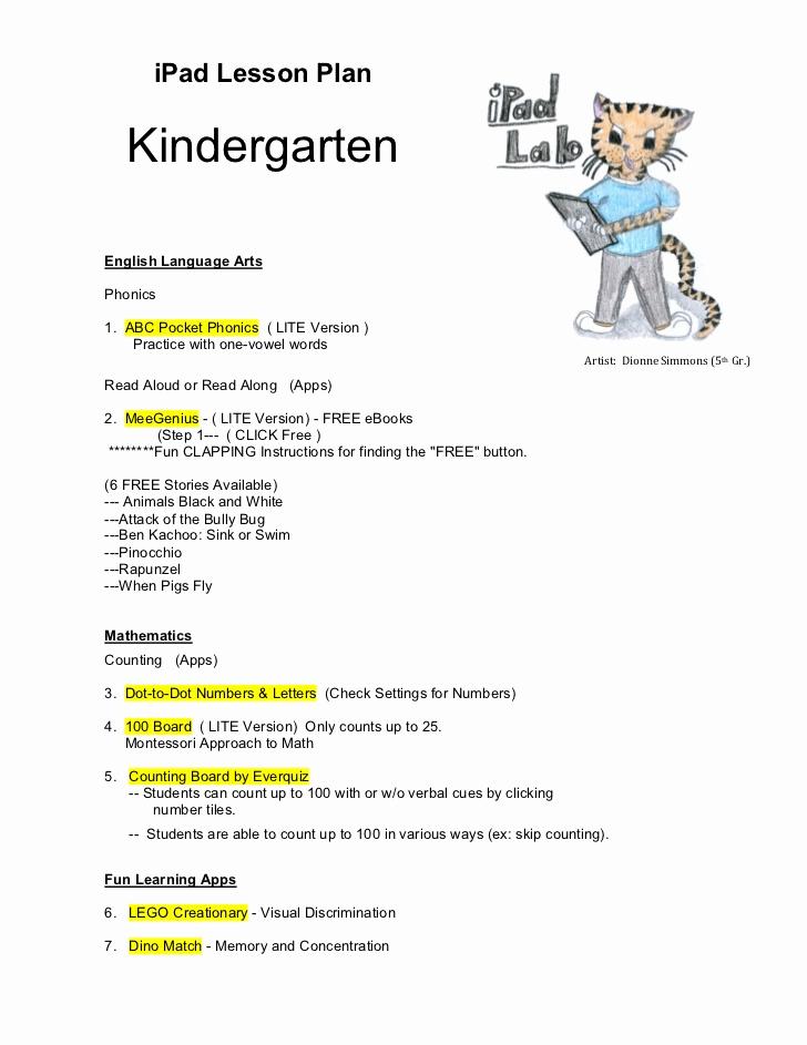 Lesson Plans for Kindergarten Luxury Kindergarten Ipad Lesson Plan