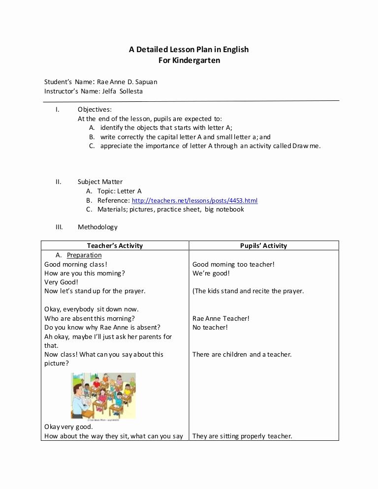 Lesson Plans for Kindergarten New Detailed Lesson Plan In English for Kindergarten