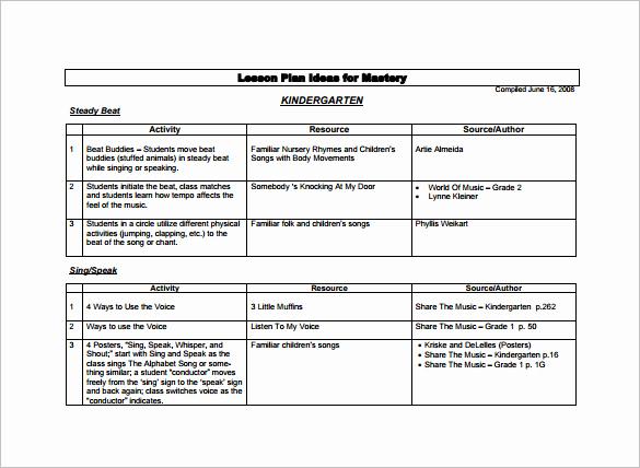 Lesson Plans for Kindergarten New Kindergarten Lesson Plan Template 9 Free Word Documents